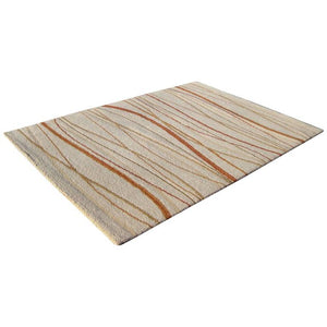 High Pile Area Rug in Beige, Rust and Tan