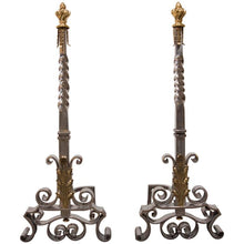 Load image into Gallery viewer, Spectacular Pair of Andirons Attributed to Gilbert Poillerat