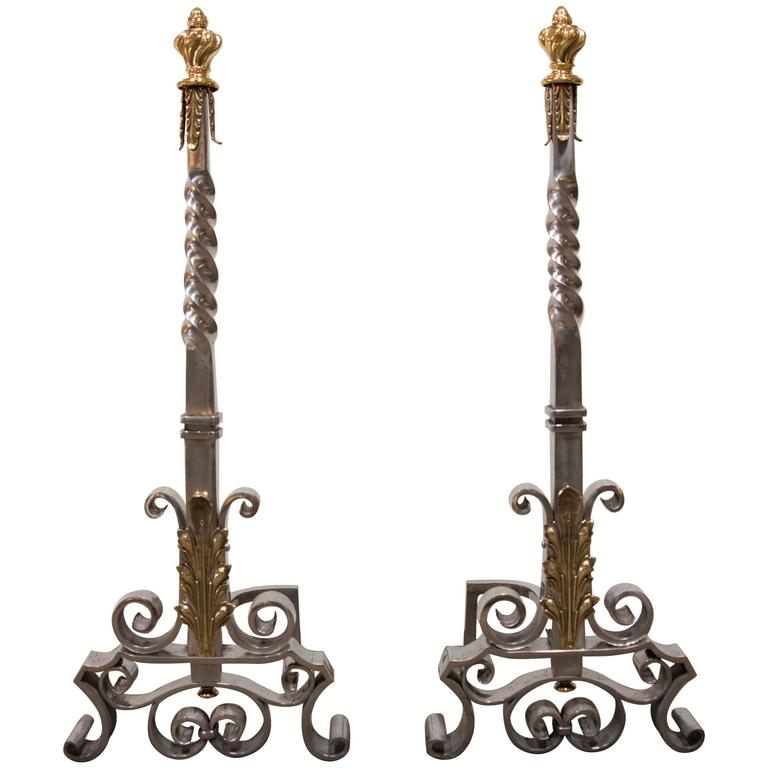 Spectacular Pair of Andirons Attributed to Gilbert Poillerat
