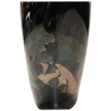 Load image into Gallery viewer, Organic Black Glass Vase with Iridescent Overlay