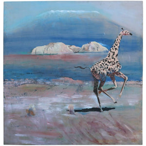 Five feet Oil Painting on Canvas of African Giraffe by Sam Amato