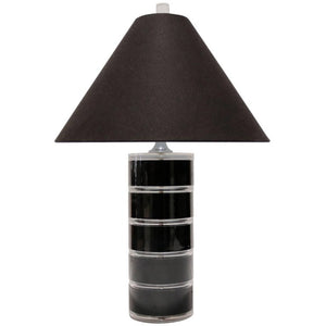 Clear and Black Lucite Table Lamp
