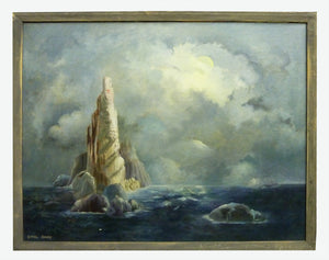 Ethel Sharp Oil Painting of Dream-like Island and clouds