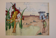 Load image into Gallery viewer, Surrealist Landscape Watercolor Signed R. E. Schwelke and Dated 1947
