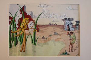 Surrealist Landscape Watercolor Signed R. E. Schwelke and Dated 1947