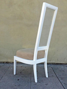 Set of Four 1970s White Lacquer and Lucite Dining Chairs