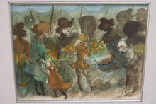 Load image into Gallery viewer, Watercolor of a Market Scene by Walter Peregoy