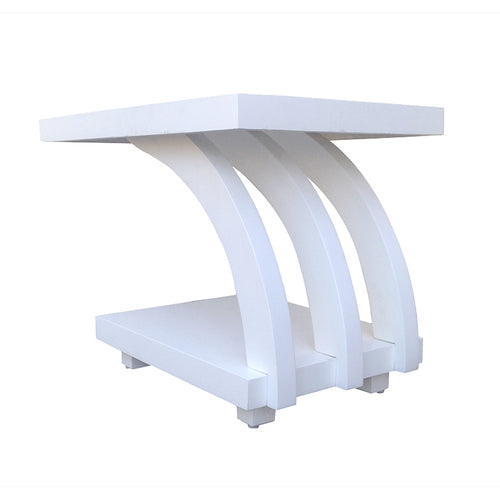 White Two Tier Side Table