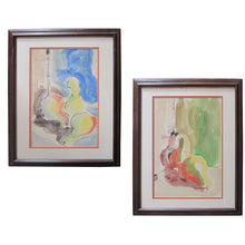 Load image into Gallery viewer, Watercolor Abstract Expressionist Still Lifes, Pair