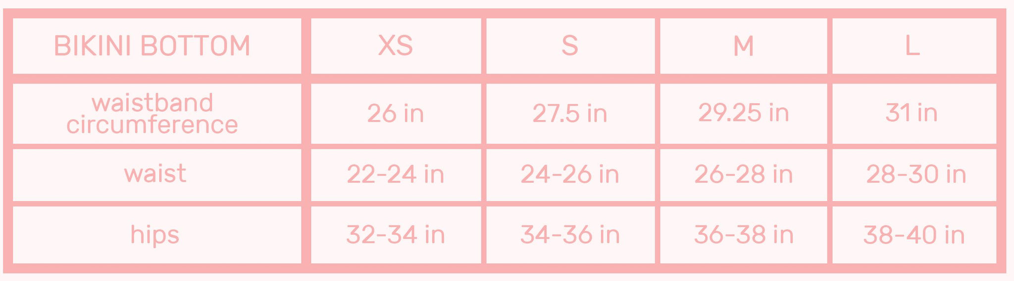 neoprene bikini bottom sizes chart