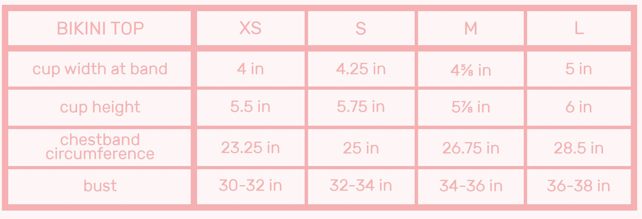 neoprene bikini top sizes chart