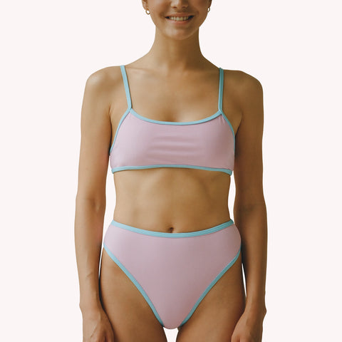 mew 2 in 1 pink sporty bra bikini top