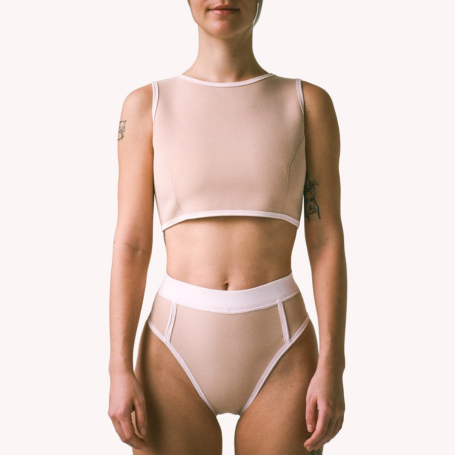 sand n pink neoprene bikini brief bottom