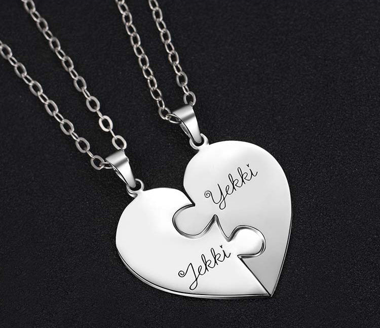 S925 Silver Jigsaw Puzzle Breakable Heart Necklaces