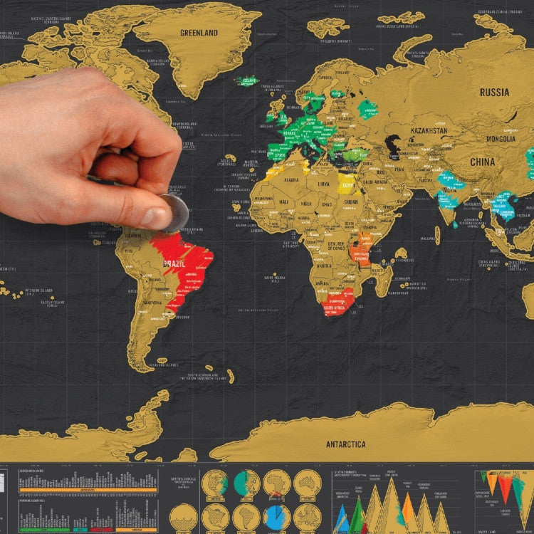 Scratch Travel Map World Gold & Black Version