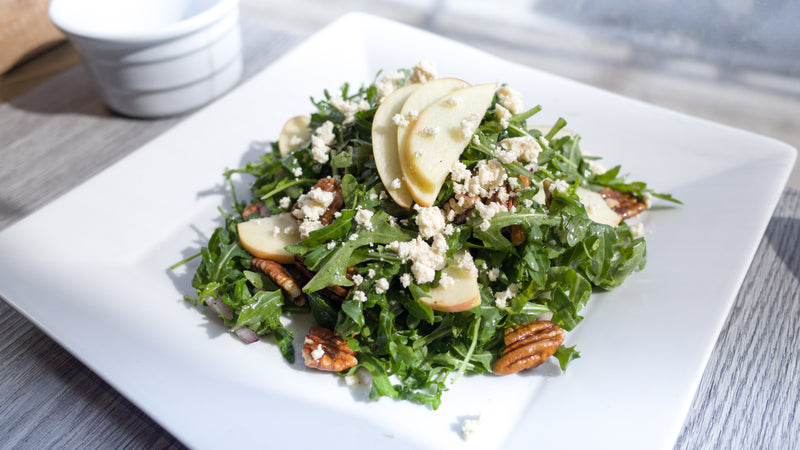 Apple Pecan Salad with Tofu Feta Crumble