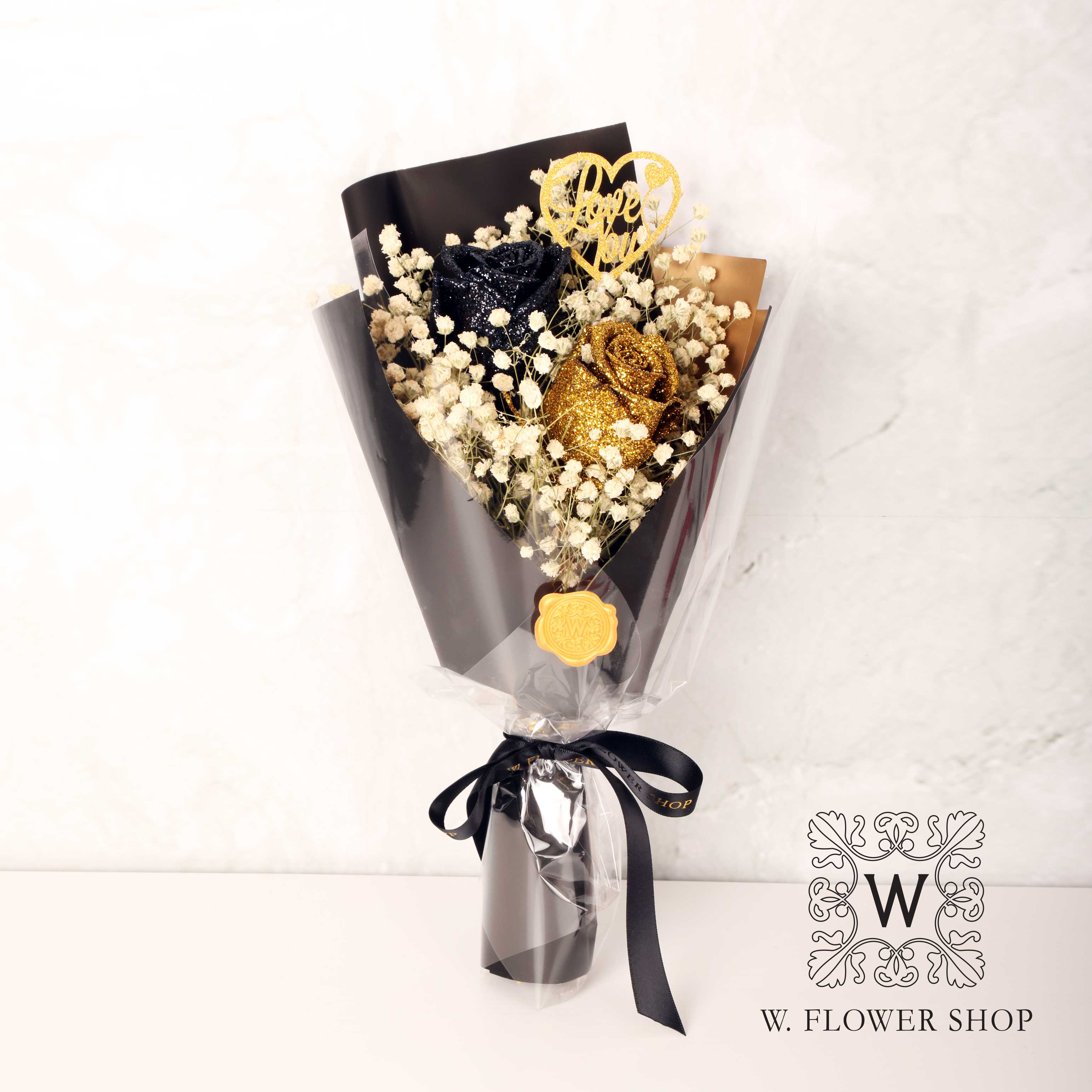 Dried Flower Bouquet - Shiny Black