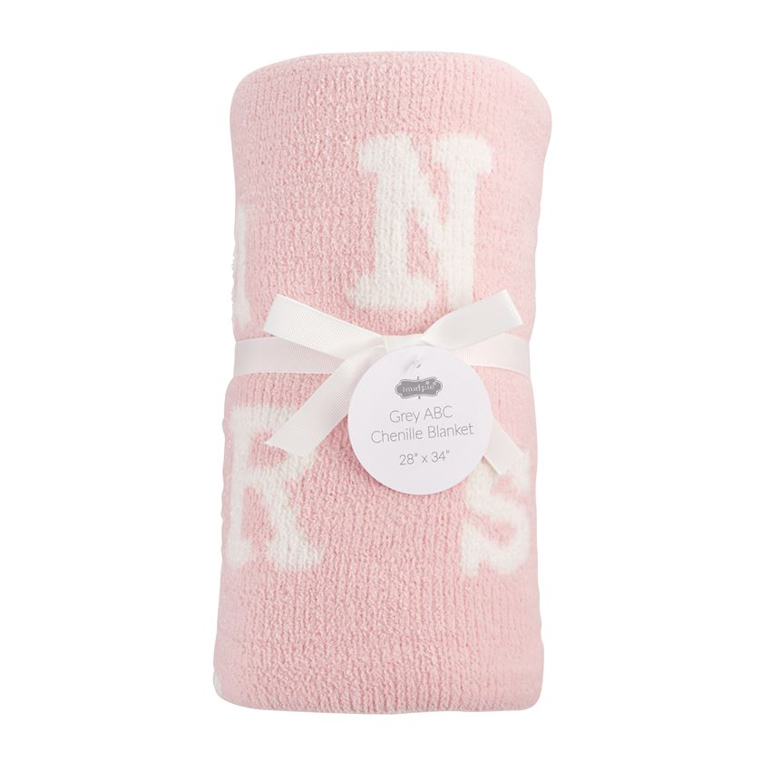 ABC Chenille Blanket: Pink