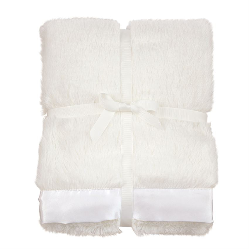 Ivory Satin Trim Baby Blanket