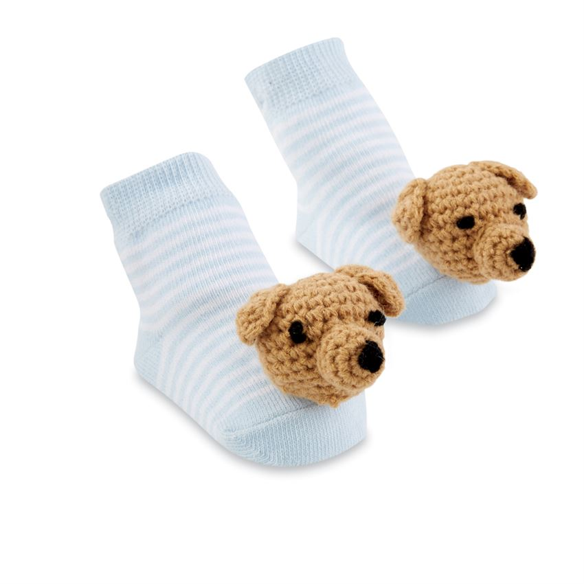 Blue Dog Rattle Toe Socks
