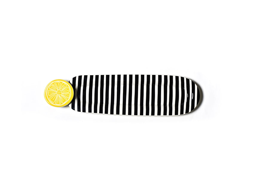Black Stripe Mini Entertaining Skinny Oval Platter