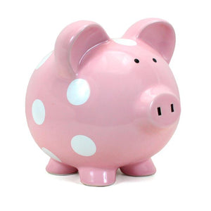 Polka Dot Piggy Bank Pink