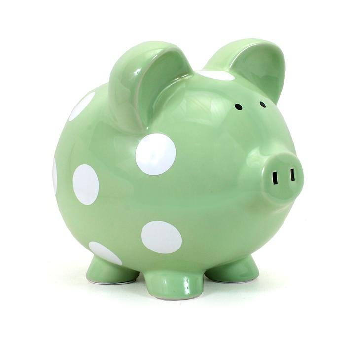 Polka Dot Piggy Bank | Sage