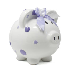 Multi-Dot Piggy Bank Purple
