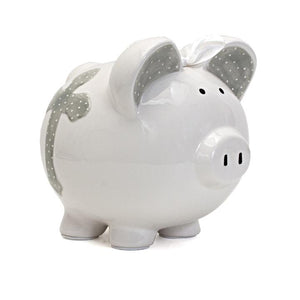 Faith Piggy Bank | Gray