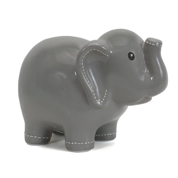 Large Stitched Elephant Bank Grey