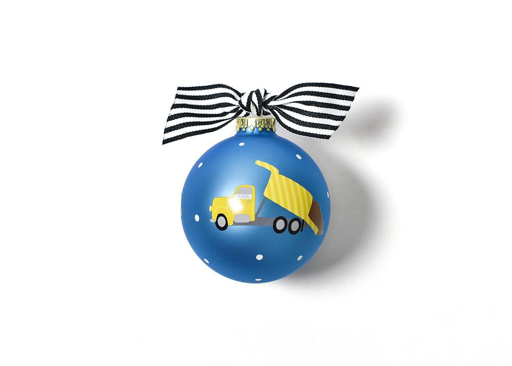 Construction Vehicle Glass Ornament