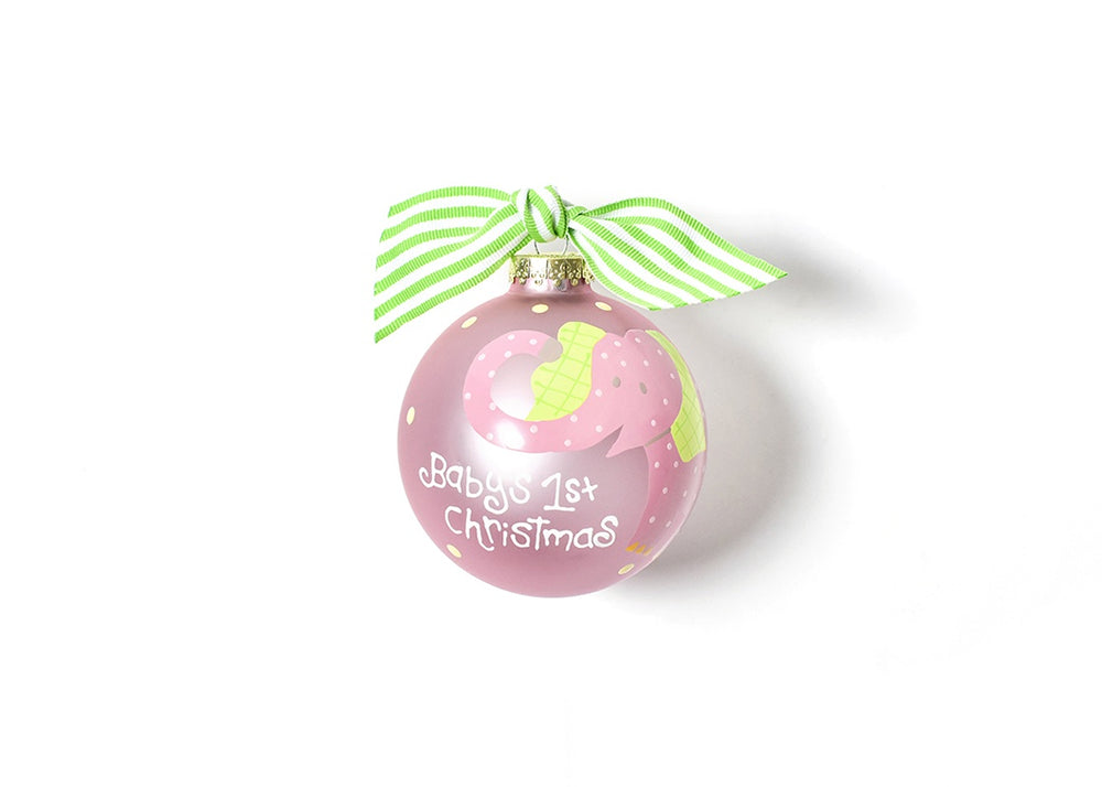 Baby's First Christmas Pink Elephant Glass Ornament