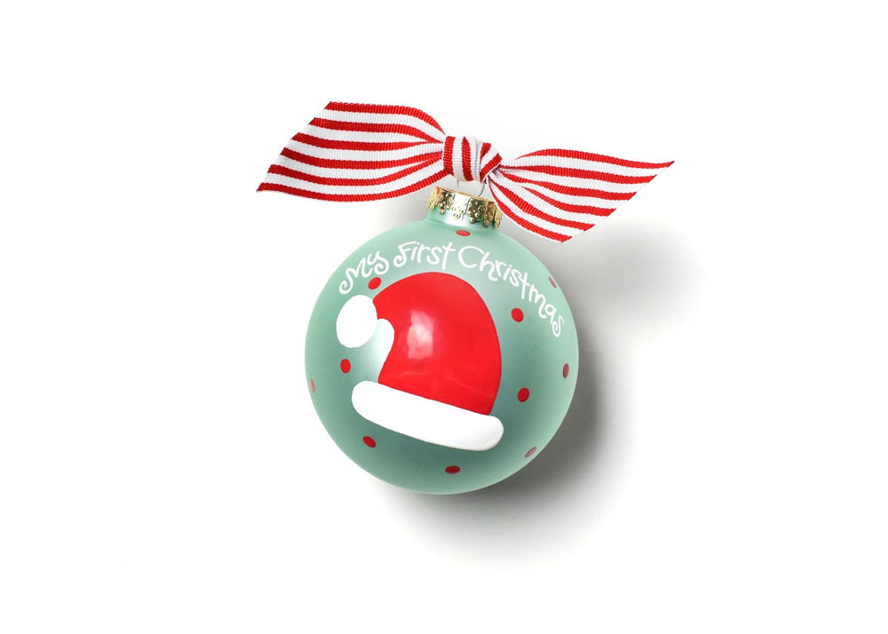 My First Christmas Hat Boy Glass Ornament
