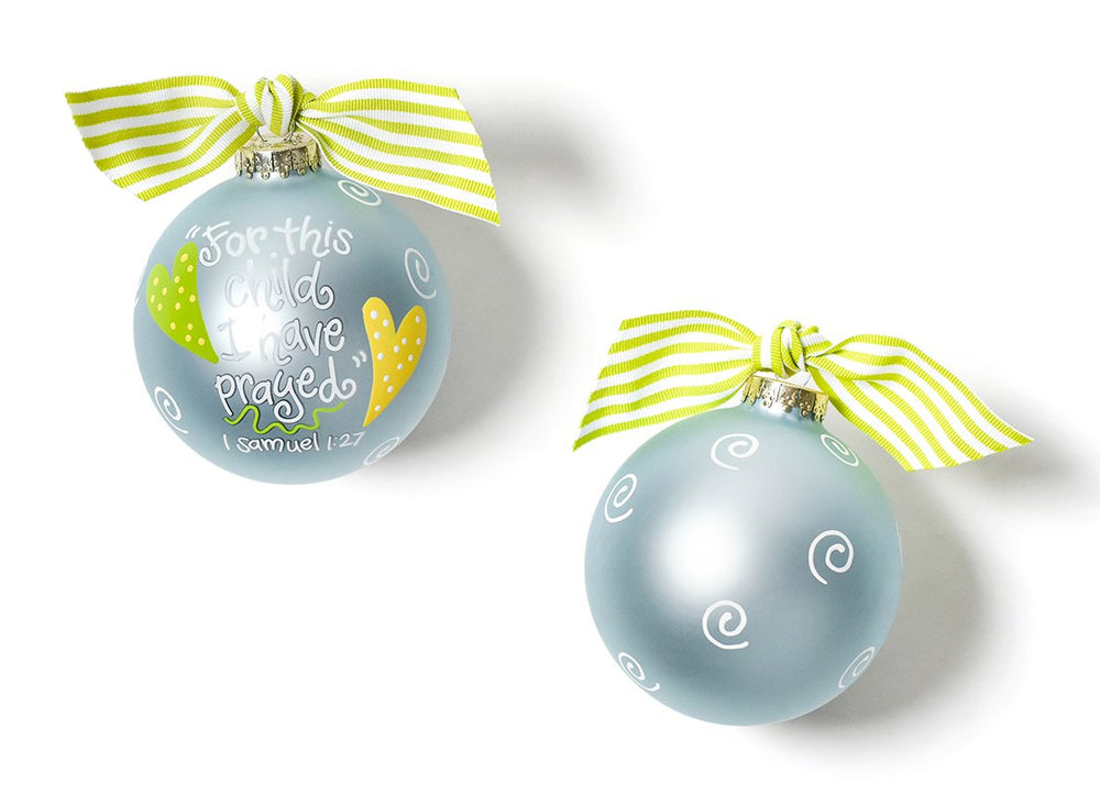 For This Child Blue Glass Ornament