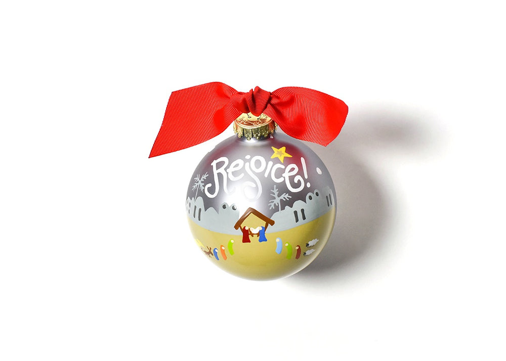 Rejoice Nativity Glass Ornament