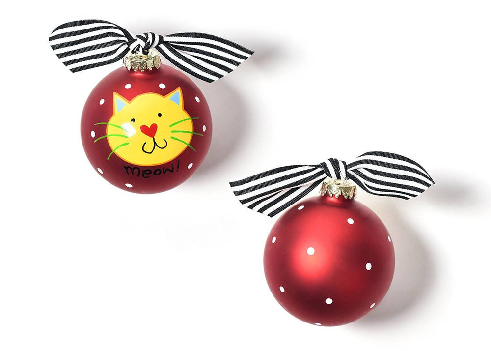 Meow Red Cat Glass Ornament