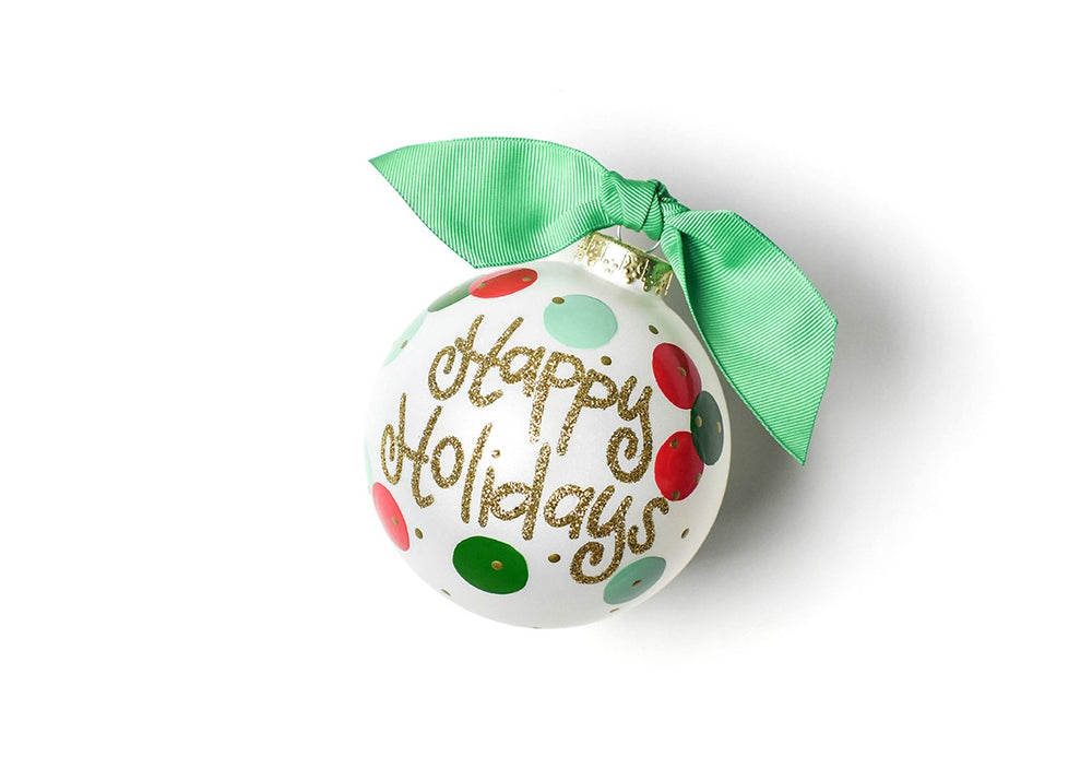 Layered Dot Happy Holidays Glass Ornament