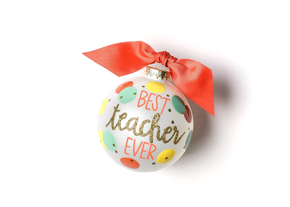 Best Teacher Ever Glass Ornament