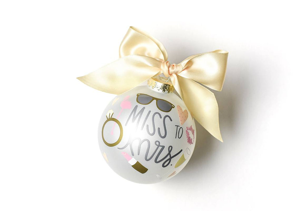 Miss To Mrs. Glass Ornament