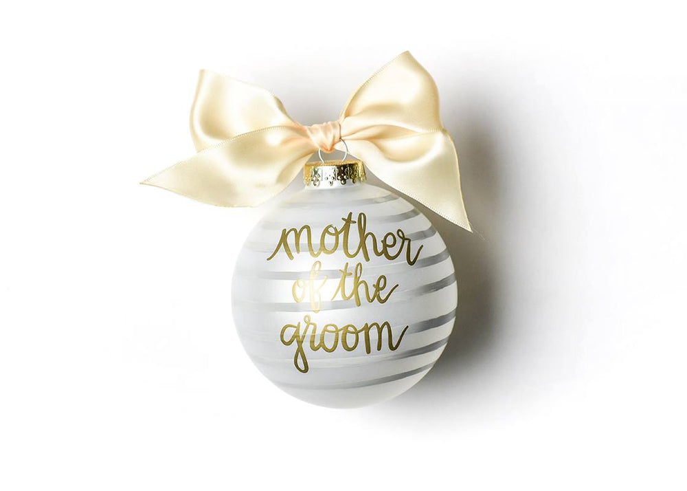 Stripe Mother of the Groom Glass Ornament