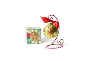 Jolly Jolly Stockings Glass Ornament