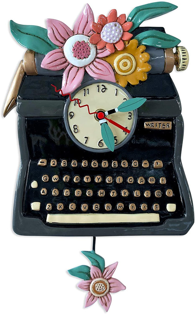 TypeWriter Black Pendulum Clock