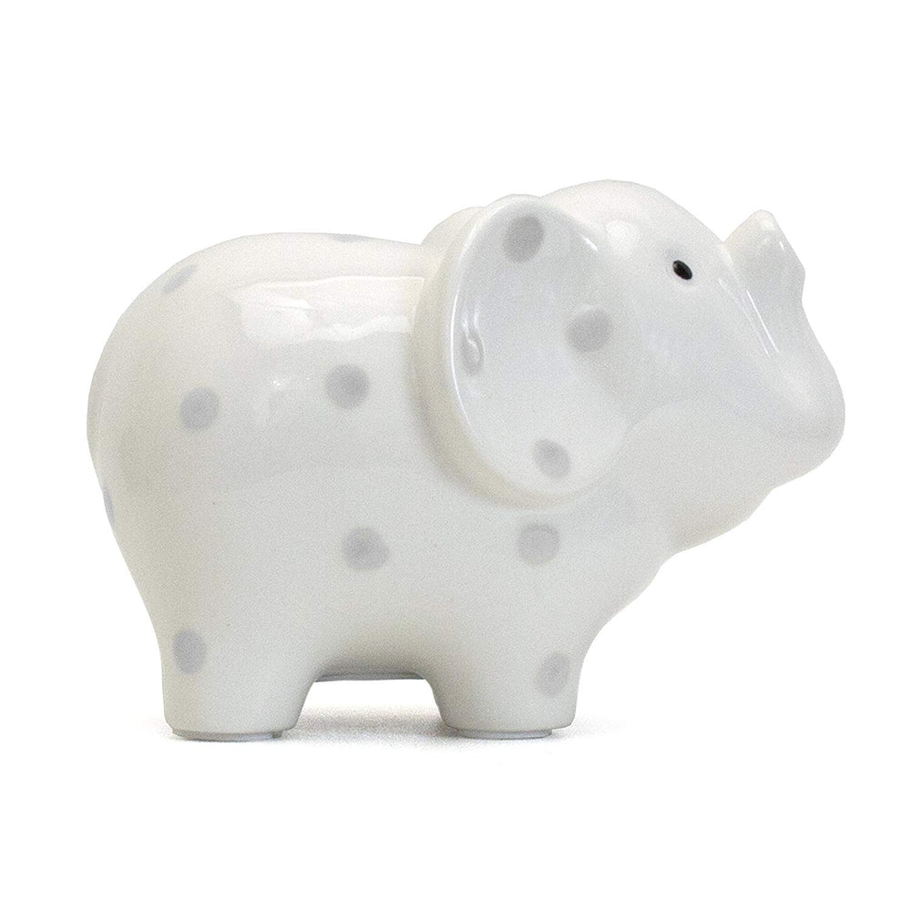 White Elephant Bank with Gray Polka Dots