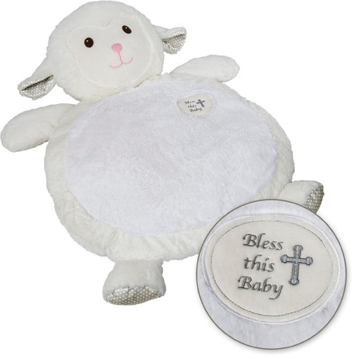 """Bless this Baby"" Lamb Baby Mat"