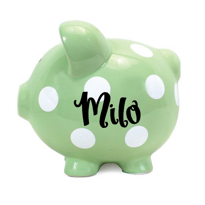 Polka Dot Piggy Bank Sage