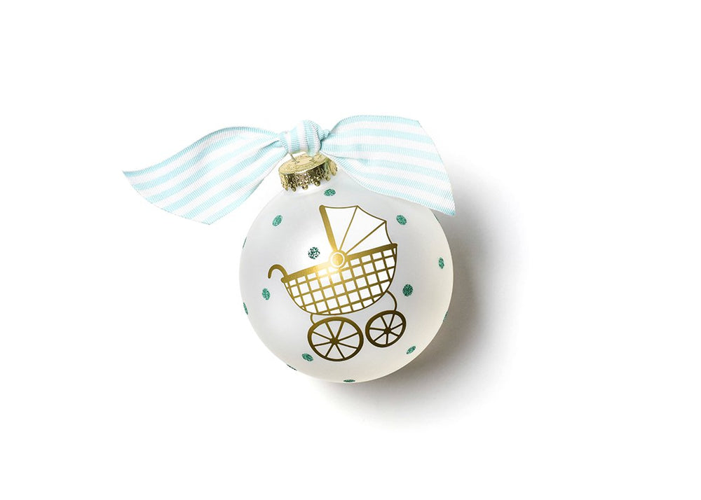 Welcome Little One Blue Carriage Glass Ornament
