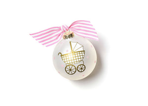 Welcome Little One Pink Carriage Glass Ornament