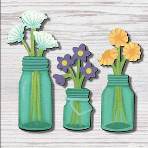 Flowers In Canning Jar Magnets