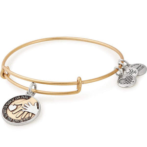 Hand in Hand Two Tone Charm Bangle | Gold