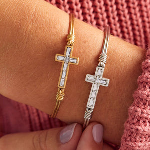 Baguette Crystal Cross Bangle Bracelet